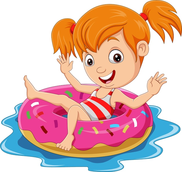 Cartoon little girl floating with inflatable ring