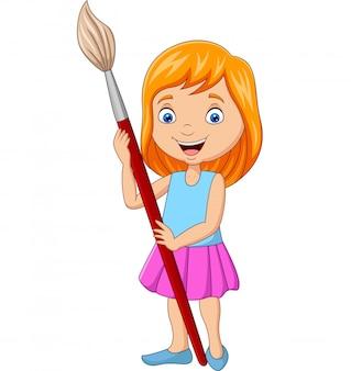 Cartoon little girl holding big paintbrush