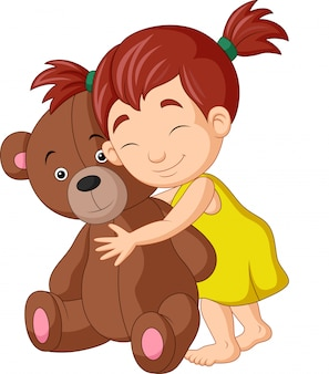 Cartoon little girl hugging teddy bear