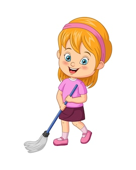 Cartoon little girl mopping the floor