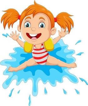 물 위에서 노는 만화 어린 소녀