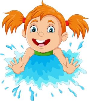 Cartoon little girl playing a water