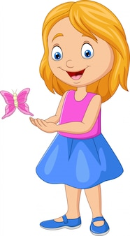 Cartoon little girl playing with butterfly