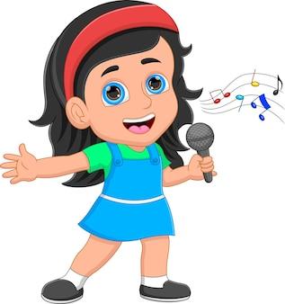 Cartoon little girl singing on white background