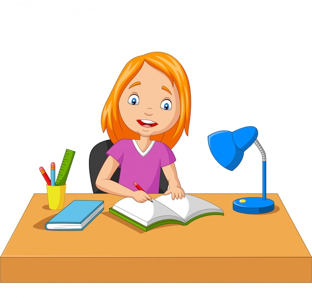 Cartoon little girl studying and writing