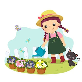 Cartoon of a little girl watering plant. kids doing housework chores at home concept.