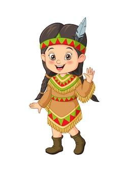 アメリカのインドの衣装を着た漫画の少女