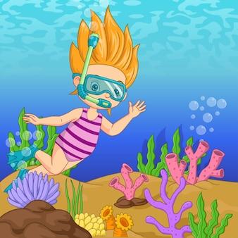 ダイビングマスクを着た漫画の女の子が水中を泳ぐ