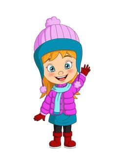 手を振って冬の服を着て漫画の少女