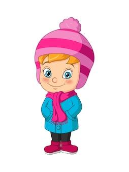 冬の服を着ている漫画の少女