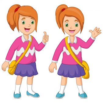 Cartoon little girl with backpack