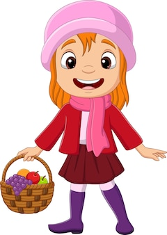 과일 바구니와 함께 만화 어린 소녀
