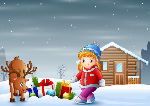 Cartoon little girl with a deer in christmas