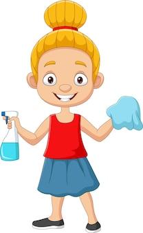 Мультфильм маленькая девочка с распылителем и тряпкой