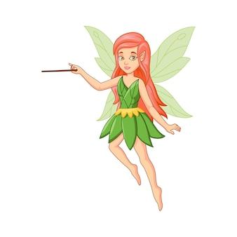 魔法の棒で漫画の小さな緑の妖精