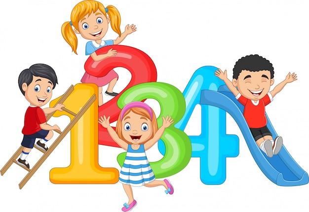 숫자와 함께 작은 행복 한 어린이 만화