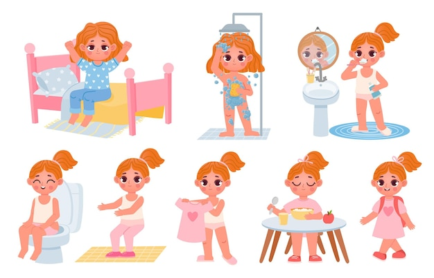Cartoon little kid girl home daily routine. cute child dress, shower, eat breakfast and exercise. children morning healthy habits vector set