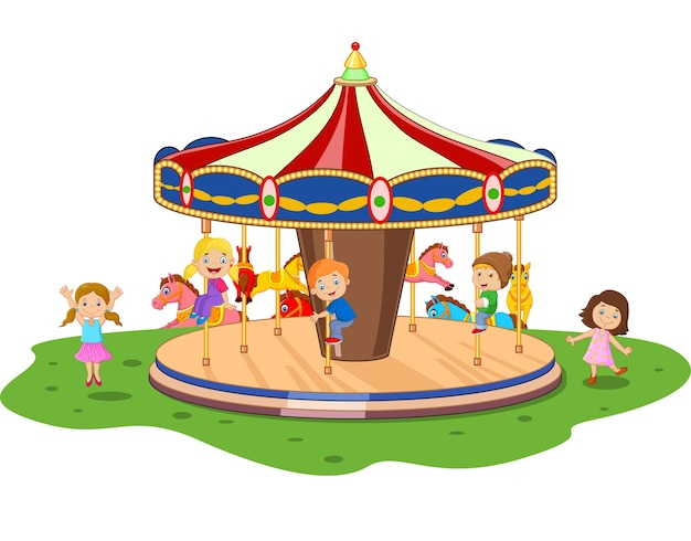 Cartoon little kid playing game carousel