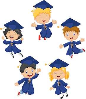 Cartoon little kids celebrate their graduation