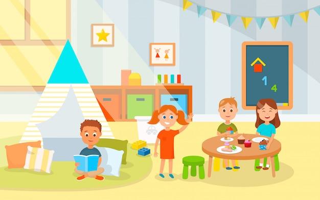 Cartoon little kids eat cakes in kindergarten.