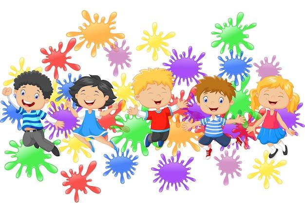 Cartoon little kids jumping together