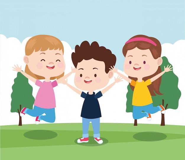 Cartoon little kids in the park