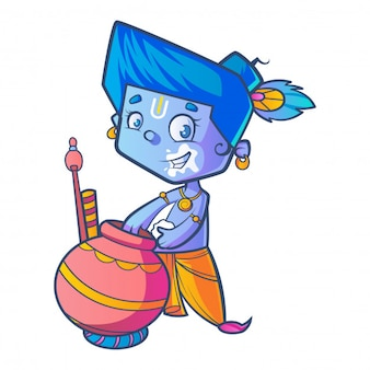 Cartoon of little lord krishna eating butter from pot .