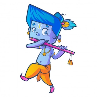 Cartoon of little lord krishna with flute.
