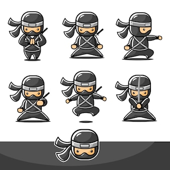 Cartoon little ninja action set with six different action
