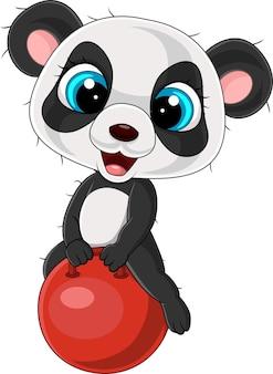 Мультяшная маленькая панда с красным мячом