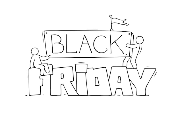 Premium Vector Cartoon Little People With Big Words Black Friday Hand Drawn Illustration
