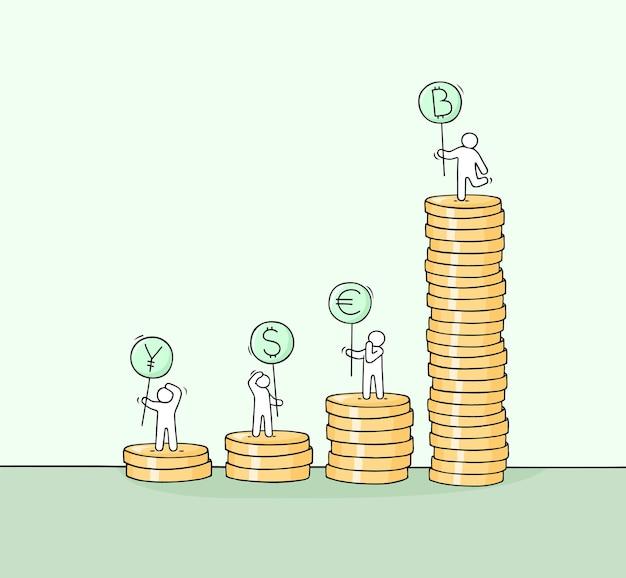 동전 더미와 함께 만화 작은 사람들. 화폐에 대한 노동자들의 귀여운 미니어처 장면을 낙서하세요. 비즈니스 및 금융 디자인을 위한 손으로 그린 벡터 일러스트 레이 션.