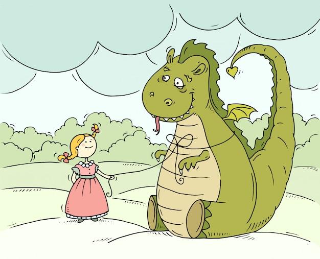 Мультяшная маленькая принцесса с большим драконом