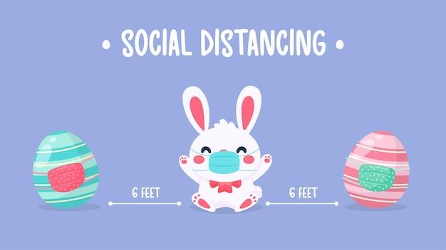 マスクとカラフルなイースターの卵を身に着けている漫画の小さなウサギ。社会距離拡大の概念