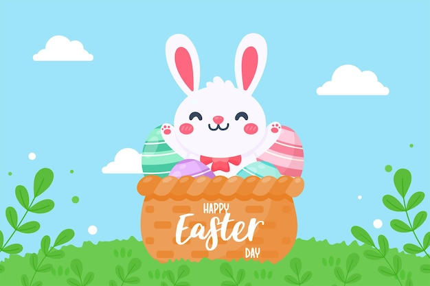 Cartoon little rabbit with easter eggs in wicker basket on grassland background and bright sky