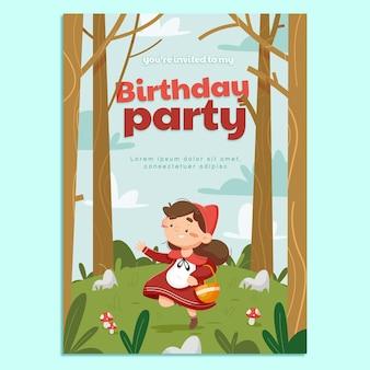 만화 작은 빨간 승마 후드 생일 초대장