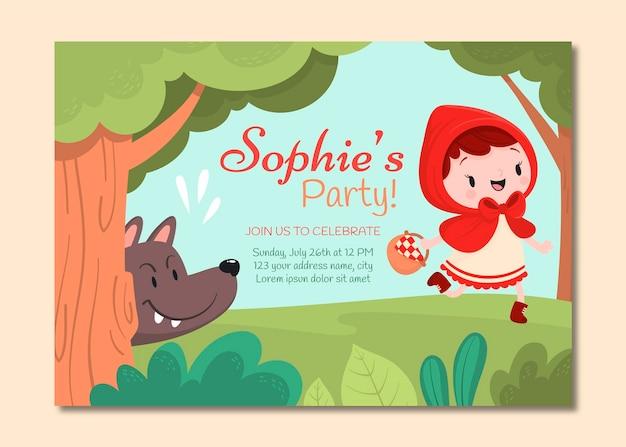 Cartone animato piccolo invito di compleanno di cappuccetto rosso