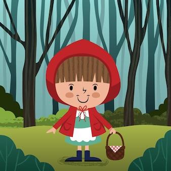 만화 작은 빨간 승마 후드 그림