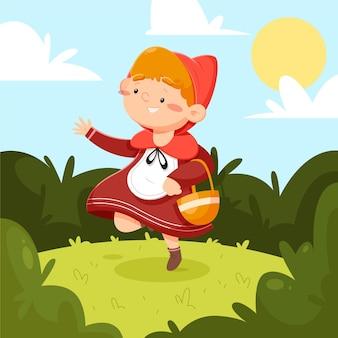 Cartoon little red riding hood tale illustration