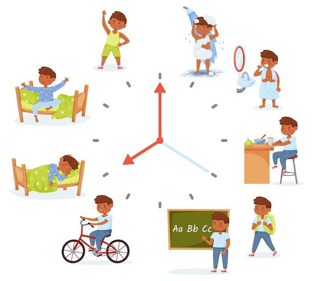 Cartoon little school boy activities child daily routine everyday schedule for kids vector set