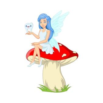 キノコに歯を持って座っている漫画の小さな歯の妖精