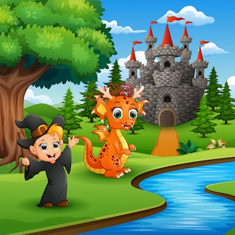 Cartoon of little witch and dragon in the park