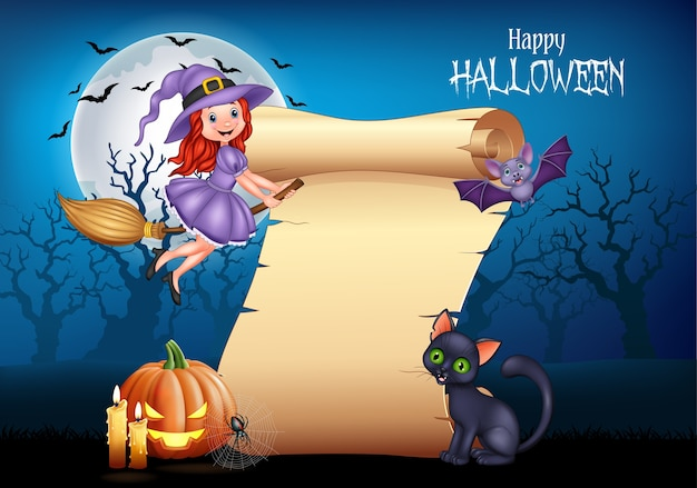 Cartoon little witch flying on a broomstick