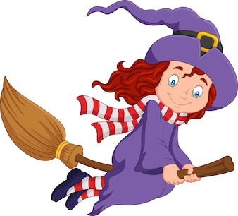 Cartoon little witch flying use a broomstick