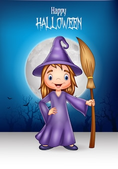 Cartoon little witch holding broomstick with halloween background