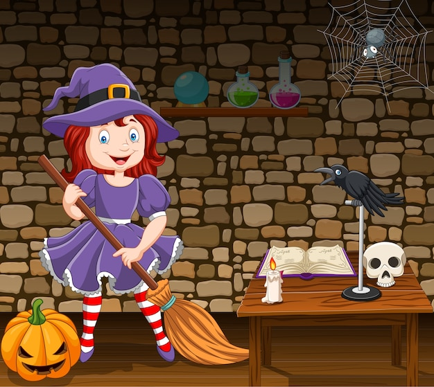 Cartoon little witch holding a broomstick