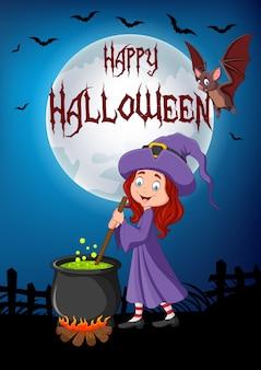Cartoon little witch preparing potion