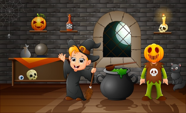 Cartoon of little witch and pumpkin mask