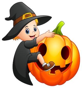 Cartoon little witch with a pumpkin
