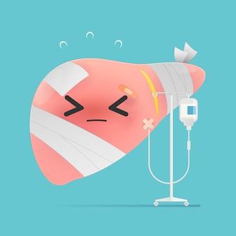青い背景の上の体の漫画の肝疾患と生理食塩水。肝炎のイラスト。肝不全。ベクトルデザイン